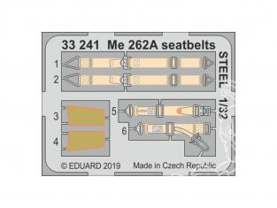 Eduard photodécoupe avion 33241 Harnais métal Messerschmitt Me 262A Revell 1/32