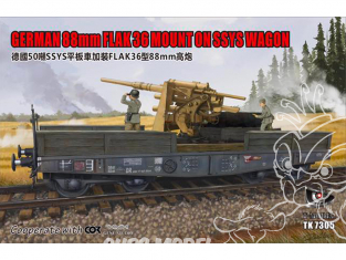 T-Model TK7305 88mm Flack36 Allemand sur Wagon SSYS 1/72