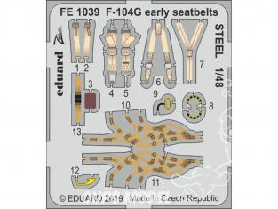 EDUARD photodecoupe avion FE1039 Harnais métal F-104G Early Kinetic 1/48