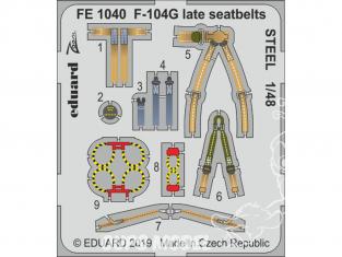 EDUARD photodecoupe avion FE1040 Harnais métal F-104G Late Kinetic 1/48