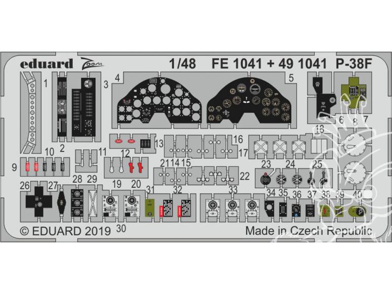 EDUARD photodecoupe avion 491041 Amélioration Lockheed P-38F Lightning Tamiya 1/48