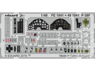 EDUARD photodecoupe avion FE1041 Zoom Amélioration Lockheed P-38F Lightning Tamiya 1/48