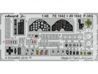 EDUARD photodecoupe avion FE1042 Zoom Amélioration Lockheed P-38G Lightning Tamiya 1/48
