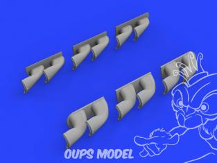 Eduard kit d'amelioration brassin 632139 Pipes d'échappement Fishtail P-40 Hasegawa 1/32