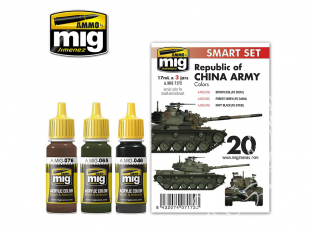 MIG peinture 7172 Set couleurs Republic of China Army 3 x 17ml