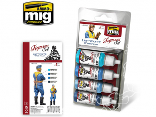 MIG peinture Figurines 7025 Set pilotes Luftwaffe WWII 4 x 17ml