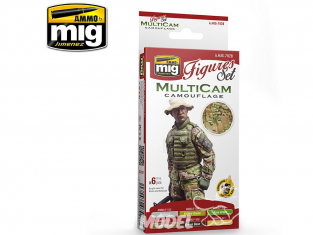 MIG peinture Figurines 7028 Set camouflage MultiCam 6 x 17ml