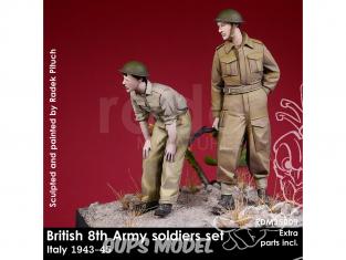 Rado miniatures figurines RDM35009 8ème Armée Britannique - 2 Soldats Italie 1943-45 1/35