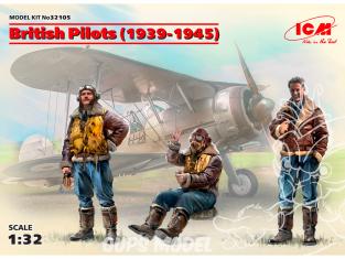 Icm maquette avion 32105 3 Pilotes britanniques (1939-1945) (100% de nouveaux moules) 1/32