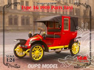 Icm maquette voiture 24030 Renault Type AG 1910 Paris Taxi (100% new molds) 1/24