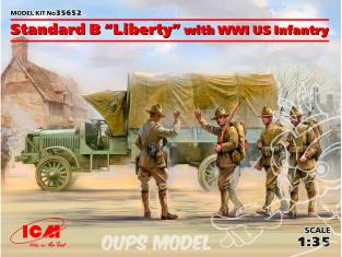 """Icm maquette figurines 35652 Standard B """"Liberty"""" avec l'infanterie américaine WWI 1/35"""