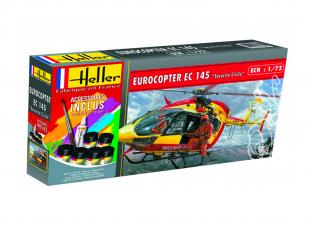 HELLER maquette helicoptere 56375 Eurocopter EC145 Securite Civile kit complet 1/72