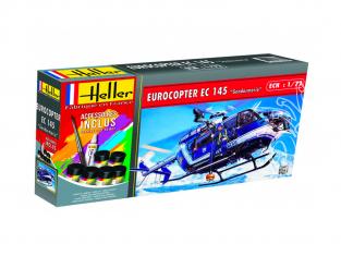 HELLER maquette helicoptere 56378 Eurocopter EC145 Gendarmerie kit complet 1/72