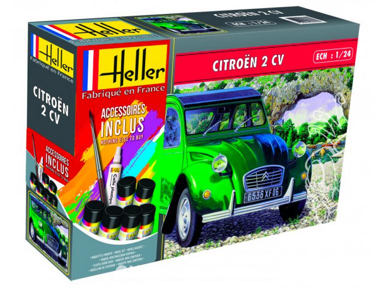 heller maquette voiture 56765 Citroen 2cv ensemble complet 1/24
