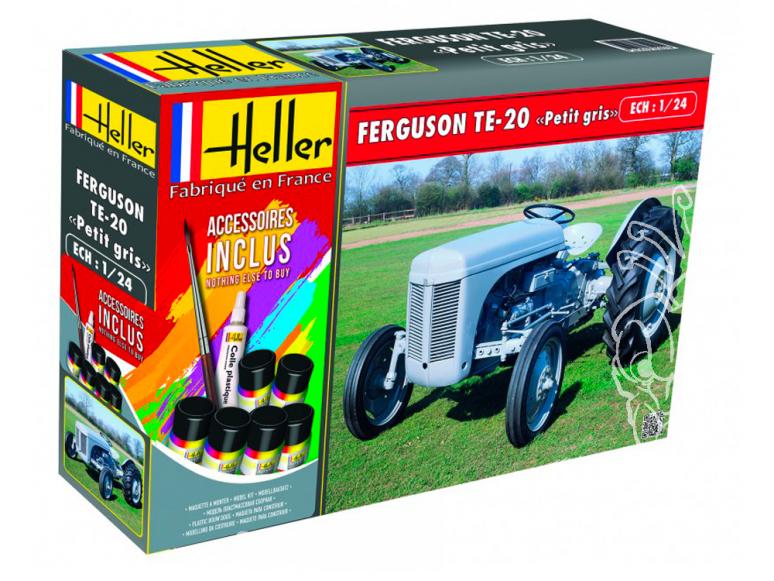 """Heller maquette tracteur 57401 Ferguson TE-20 """"Petit Gris"""" Ensemble complet 1/24"""