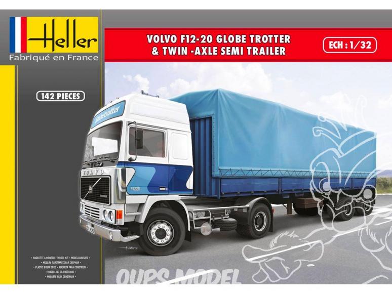 Heller maquette camion 57703 Volvo F12-20 Globetrotter et Remorque à deux essieux ensemble complet 1/32