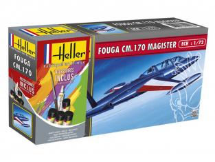 HELLER maquette avion 56220 Fouga Magister inclus peintures principale colle et pinceau 1/72