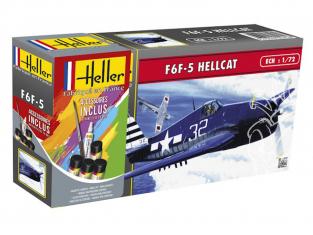 Heller maquette avion 56272 F6F-5 HELLCAT inclus peintures principale colle et pinceau 1/72