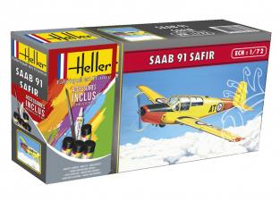 Heller maquette avion 56287 SAAB SAFIR 91 inclus peintures principale colle et pinceau 1/72