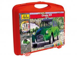 Heller maquette voiture 60175 Citroen 2CV en malette avec peintures principale colle et pinceau et PISTE 1/43