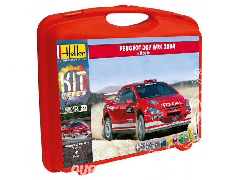 Heller maquette voiture 60115 PEUGEOT 307 WRC en malette avec peintures principale colle et pinceau et PISTE 1/43