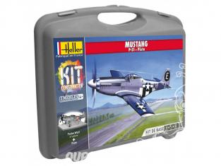 Heller maquette avion 60268 MUSTANG P-51D en malette avec peintures principale colle et pinceau et PISTE 1/72