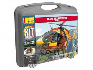 Heller maquette helico 60375 EUROCOPTER EC 145 SECURITE CIVILE en malette peintures principale colle et pinceau et PISTE 1/72