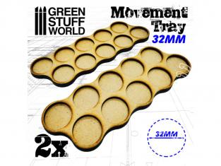 Green Stuff 502800 Plateaux de Mouvement MDF 32mm x10 - Skirmish