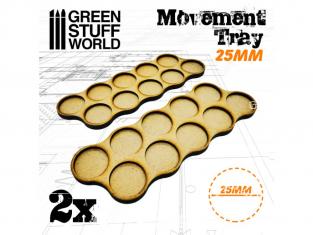Green Stuff 502824 Plateaux de Mouvement MDF 25mm x10 - Horde
