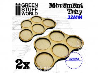 Green Stuff 502817 Plateaux de Mouvement MDF 32mm x5 - Horde