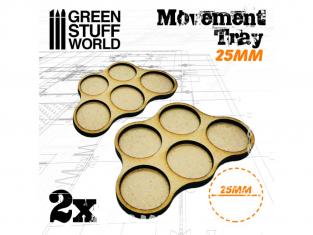 Green Stuff 502831 Plateaux de Mouvement MDF 25mm x5 - Horde