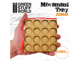 Green Stuff 502879 Plateaux de Mouvement MDF 25mm 4x4 - Hordes en Ligne