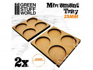 Green Stuff 502855 Plateaux de Mouvement MDF 25mm 2x2 - Hordes en Ligne
