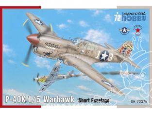 Special Hobby maquette avion 72379 P-40K-1/5 Warhawk queue courte 1/72