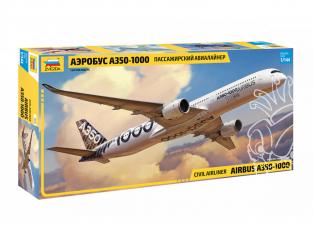 Zvezda maquette avion 7020 Civil airliner Airbus A350-1000 1/144