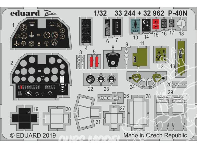 Eduard photodécoupe avion 32962 Intérieur P-40N Trumpeter 1/32