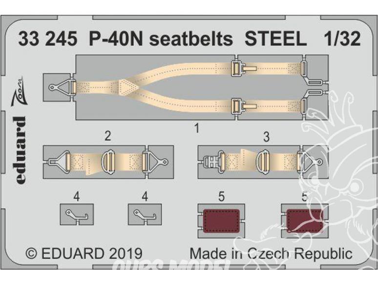Eduard photodécoupe avion 33245 Harnais métal P-40N Trumpeter 1/32