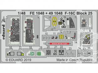 EDUARD photodecoupe avion FE1048 Zoom Amélioration F-16C Block 25 Tamiya 1/48