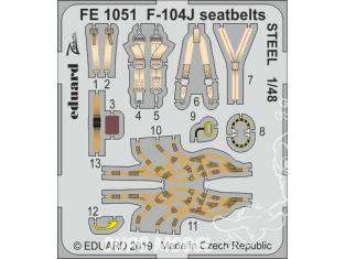 EDUARD photodecoupe avion FE1051 Harnais métal F-104J Kinetic 1/48