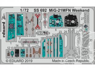 Eduard photodecoupe avion SS692 Amélioration MiG-21MFN Weekend Eduard 1/72