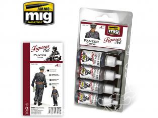 MIG peinture Figurines 7024 Set Equipage Panzer WWII 4 x 17ml