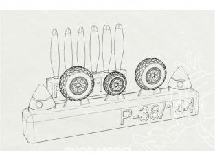Brengun kit d'amelioration avion BRL144146 P-38 Roues et hélices pour kit Fujimi 1/144