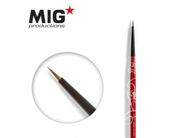 MIG Productions by Ak pinceau MP1007 Pinceau rond 7/0 Marte de Kolinsky