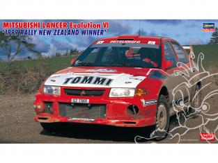 Hasegawa maquette voiture 20415 Mitsubishi Lancer Evolution VI «Vainqueur du Rallye de Nouvelle-Zélande 1999» 1/24