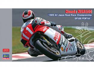 "Hasegawa maquette moto 21721 Honda NSR500 ""1989 All Japan Road Race Championship GP500 PENTAX"" 1/12"
