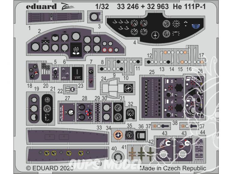 Eduard photodécoupe avion 32963 Amélioration Heinkel He 111P-1 Revell 1/32