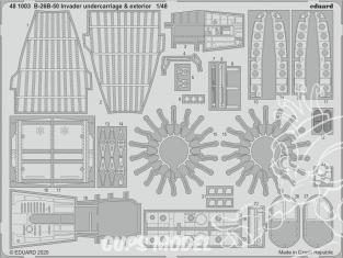 EDUARD photodecoupe avion 481003 Undercarriage & Extérieur B-26B-50 Invader Icm 1/48