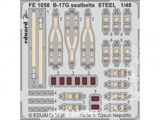 EDUARD photodecoupe avion FE1058 Harnais métal B-17G Hk Models 1/48