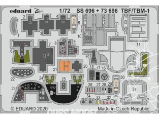 Eduard photodecoupe avion 73696 Amélioration TBF / TBM-1 Avenger Hasegawa 1/72