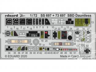 Eduard photodecoupe avion SS697 Zoom Amélioration SBD Dauntless Hasegawa 1/72